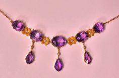 View this item and discover similar for sale at - Early century Amethyst and Pearl Lavalier Necklace, American, The Necklace claw set with five oval faceted medium tone amethyst, inter Gold Pearl Necklace, Antique Necklace, Antique Jewellery, Amethyst Jewelry, Art Nouveau Jewelry, Jewelry Necklaces, Drop Earrings, Pearls, Chain