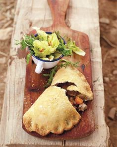 Cornish cowboy chicken and butternut squash pasties by Jamie Oliver [NB Worcester sauce very overpowering, use sparingly & definitely not 4 tblsp! Empanadas, Crescent Rolls, Nigella, Quiches, Cornish Pasties, Le Diner, Sandwiches, Galette, Chicken Recipes