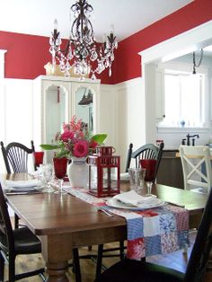 Hottie... I think I love this red? And would be perfect with wainscoting! Honey-do....