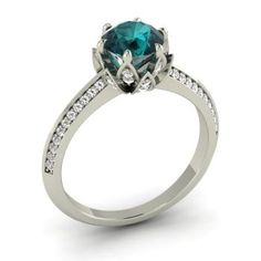 Round Blue Diamond Engagement Ring in Platinum with SI Diamond