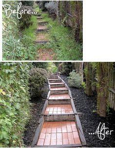 before and after garden walkway weeding and pruning only Garden Design, House Design, Garden Makeover, Concrete Garden, Weeding, Garden Styles, Walkway, Stairways, Amazing Gardens