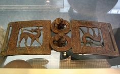 Bronze belt-clasp with iron inlay and animal-head hooks    Etruscan,ca 650-600 BCE British Museum