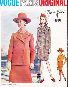 1960s CLASSY NINA RICCI Suit and Blouse Pattern VOGUE PARIS Original 1904 Snappy Lapel Jacket Slim Skirt Size 8 Vintage Sewing Pattern