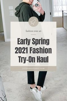 Jo-Lynne Shane tries on a variety of straight denim cuts, spring sweaters, retro trainers, and more spring 2021 fashion trends. Let's talk about how to make these new trends work for women over 40 who want to stay in style but not look like they're trying too hard.