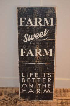 Farm Sweet Farm Vintage Wood Sign Painted by CanadaWoodworksShop Vintage Wood Signs, Distressed Wood Signs, Painted Wooden Signs, Reclaimed Wood Signs, Rustic Signs, Barn Board Signs, Farm Signs, Sign Boards, Farmhouse Signs