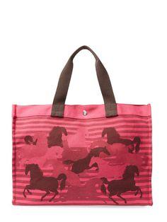 Vintage Pink Canvas Chevaux De Camouflage por Hermès en Gilt