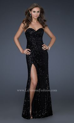 Floor Length Strapless Sweetheart Sequin Gown LF-16546