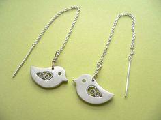 Bird Thread Earrings  handmade silver jewelry by StudioRhino, $29.00