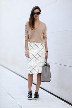 White midi skirt camel sweater