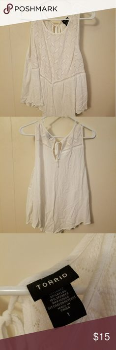 Torrid white gauze tank top size 1 Very light and airy!  Beautiful design and a very versatile piece.  Only worn twice and in excellent condition. torrid Tops Tank Tops