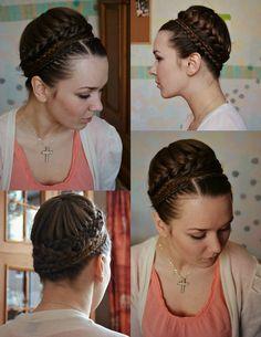 Long hair Updo, fancy bun for ballet?