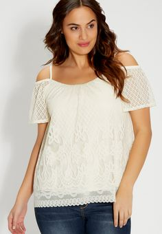 plus size lacy top with cold shoulders (original price, $36.00) available at #Maurices