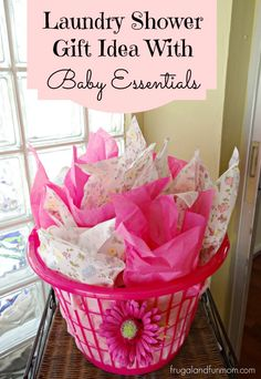 Laundry Shower Gift Idea With Baby Essentials! It is a neat gift with what is INSIDE! (There is a boy version as well) #DIY #Craft #DollarStore #Baby #BabyShower #Sponsored