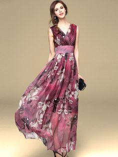 Vestido largo de Gasa con estampado de flores grandes