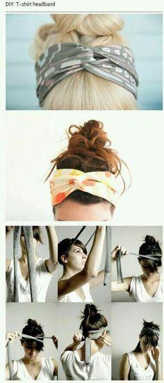 DIY Tshirt headband- no sewing, just cut and tie!