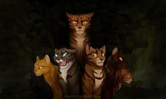 Tigerstar's lineage: on top is Tigerstar, and on the bottom from left to right is Tadpole, Mothwing, Hawkfrost, Bramblestar, Tawneypelt, and Tigerheart