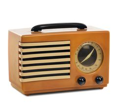 Norman Bel Geddes - Emerson 400 Aristocrat radio, catalina yellow, black handle and buttons brown. (c1940)
