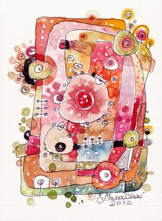 Love the whimsy here! Composition No02 Composition ORIGINAL  ABSTRACT by sabaiover, $25.00