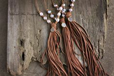 How gorgeous are these hand knotted leather cord necklaces with large fresh…