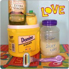 super silky legs with just sugar, lemon juice, & olive oil!