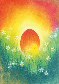 March ~ Spring Painting ~ Chick with Egg