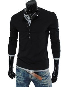 TheLees (VT09) Mens Casual Long Sleeve Layered Style Button Tshirts Black Large(US Medium)