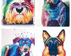 Colorful Custom Pet Portrait | Rainbow Pet Portrait | Colorful Pet Painting | Personalized Dog Painting | Colorful Pet Art
