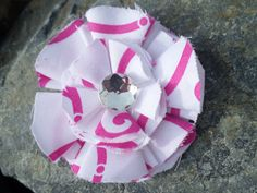 Handmade white with pink pattern flower and by RockabillyBabyPlace, $6.00