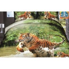 New Arrival Beautiful Tiger Jumping in Water Print 4 Piece Bedding Sets Cat Bedroom, Bedroom Eyes, Bedroom Stuff, Kids Bedroom, Master Bedroom, 3d Bedding Sets, Bedding Sets Online, Comforter Cover, Duvet Cover Sets