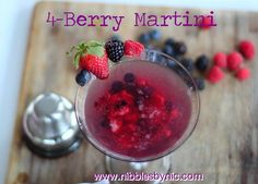 Nibbles by Nic | 4-Berry Martini - sweet and luscious berries muddled into a brilliant cocktail.  Tart and  attractive with a pop of bright red deliciousness. #cocktail #Mother's Day #holiday #Martini
