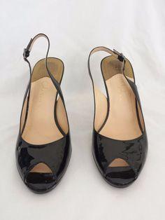 Cole Haan Nike Air Black Patent Size 8 Heel Pumps Slingback Shoes #ColeHaan #Slingbacks