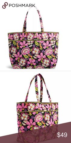 "Vera Bradley Grand Tote Bag in Pirouette Pink NWT Vera Bradley Grand Tote Bag in Pirouette Pink NWT  17 ¼"" w x 15"" h x 7 ½"" d with 12"" strap drop The classic tote goes grand! With east-west styling and a very spacious interior, this is the perfect tote for a weekend getaway, a day by the pool or a trip to the beach. Inside, an inner zip pocket keeps must-haves at reach. Details:  Interior features a hanging zip pocket. Vera Bradley Bags Totes"