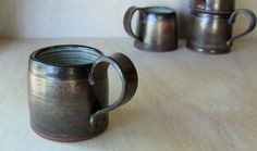 Ceramic Coffee Mug Bronze Rustic Stoneware by SeedlingClayworks