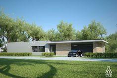 Plano de moderna y atractiva casa de 1 planta y 3 dormitorios