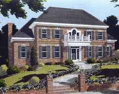 This delightful two-story Southern style home offers formal and informal spaces. The enchantment of the entry includes the gracefully curved stairs and colonial columns.  House Plan # 161188.