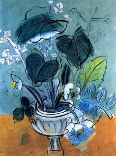 'Bouquet of Flowers', 1951 - Raoul Dufy. Flowers were a theme that reoccur through his works.