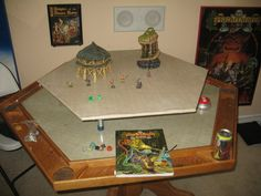 Gaming Table Idea dungeons and dragons Board Game Table, Board Games, Game Tables, Tabletop Rpg, Tabletop Games, Dungeons And Dragons, Dnd Table, Dragon Table, Pen & Paper