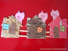three little pigs collage for fine motor, language, and sensory experience Fairy Tale Crafts, Fairy Tale Theme, Fairy Tales, Traditional Stories, Traditional Tales, Pig Crafts, Book Crafts, Three Little Pigs Houses, Art For Kids