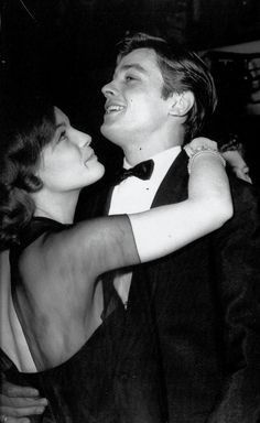 Romy Schneider & Alain Delon at a New Year's Eve party in Paris