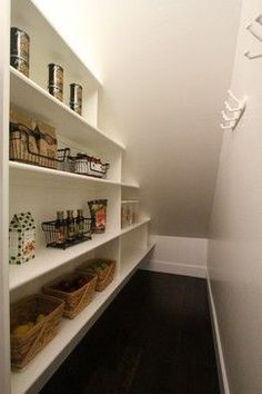 Dinning room space under stairs/pantry storage Pantry Shelving, Closet Shelves, Pantry Storage, Kitchen Storage, Kitchen Pantry, Book Storage, Pantry Closet, Storage Room, Pantry Diy