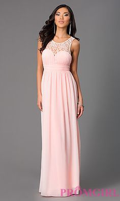 Sleeveless Floor Length Prom Dress with Lace Embellished Neckline at PromGirl.com