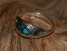 Ring Sterling Silver with Turquoise Bear Paw By Navajo Artist Russo SZ 10