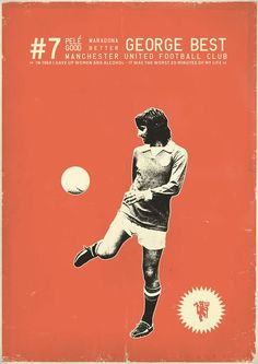George Best - soccer, football poster - by Zoran Lucic God Of Football, Football Icon, Retro Football, Vintage Football, Football Soccer, Football Signs, Soccer Art, Soccer Poster, Messi Y Ronaldo