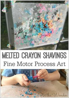 Melted Crayon Shavings Process Art is a fun & creative way for kids to work on fine motor skills!