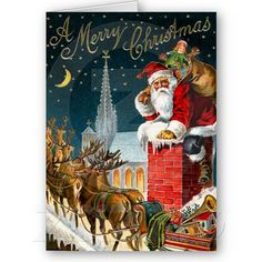 Vintage Merry Christmas Santa Claus Card