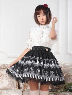 Lolitashow Mehrfarbigen Rüschen Spitze aus Polyester Lolita Rock für Frauen
