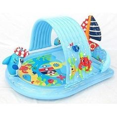 Water Spraying Shark Kiddie Pool  Ring Toss Game  Attach Garden Hose and Spray Water from Cool Summer Shark  Splash in the Sun Pool Play Center  Kids Outdoor Yard Fun Swimming Pool Party Toy  Intex Stong Durable Inflatable PVC ** For more information, visit image link.Note:It is affiliate link to Amazon.