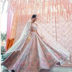 Stunning Anita Dongre Lehengas Spotted On Real Brides Engagement Dresses, Wedding Dresses, Wedding Outfits, Pink Bridal Lehenga, Pink Lehenga, Wedding Saree Blouse, Emerald Green Dresses, Wedding Sutra, Indian Designer Outfits