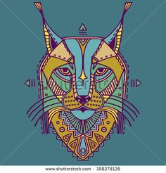 Ethnic style bobcat vector drawing. Colored