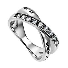 Proverbs 31 WOMAN OF GOD Ring, Bible Verse, Criss Cross Stainless Steel with CZ